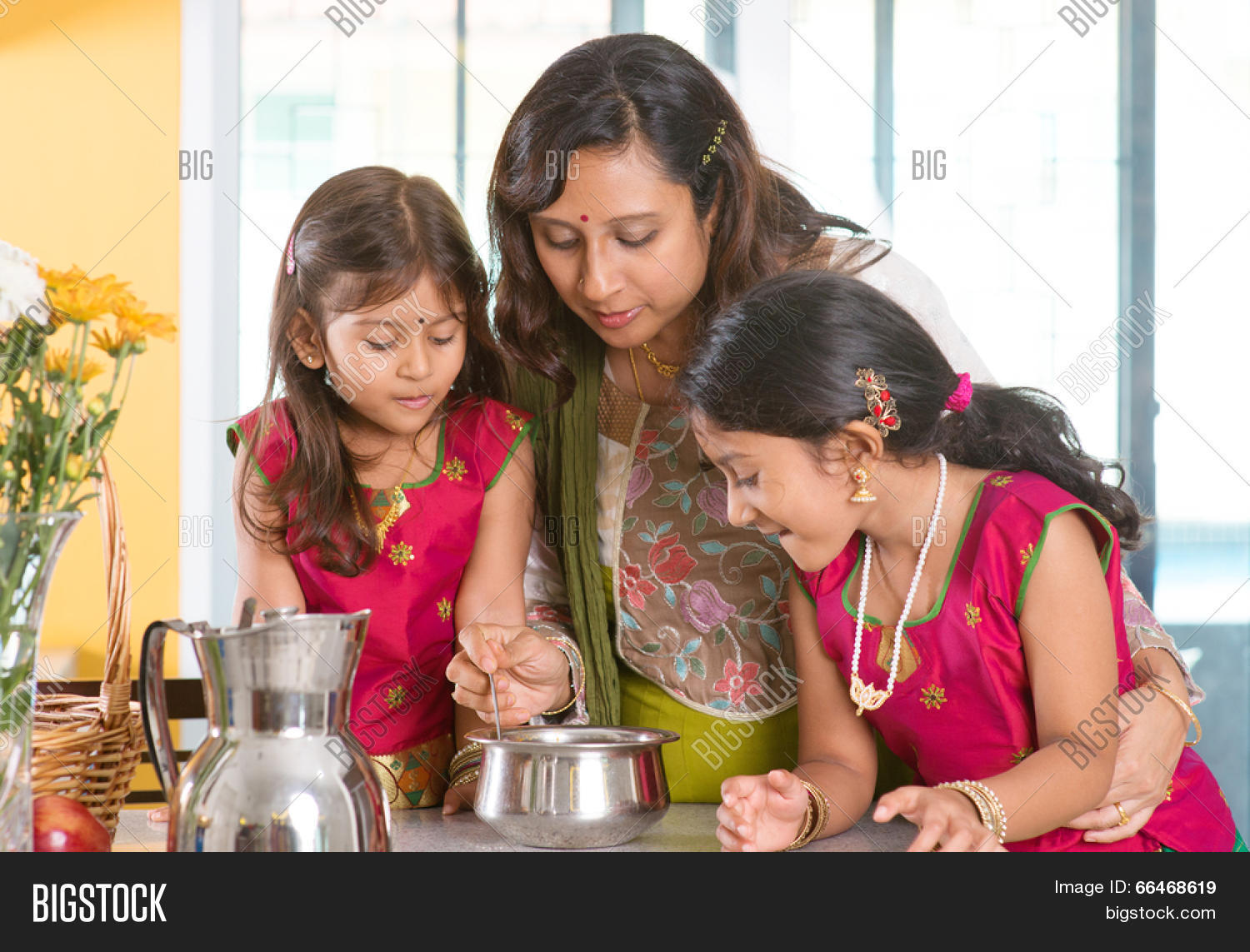 Family cooking kitchen - Asian Family Cooking Food Together At Home Indian Mother And Children Preparing Meal In Kitchen