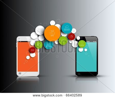 Dark Vector abstract phone illustration / infographic template with place for your content
