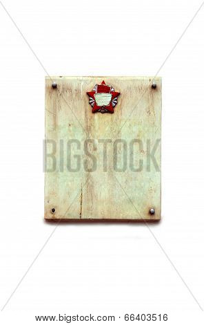 granite plate granite plate with Communist symbol on white background