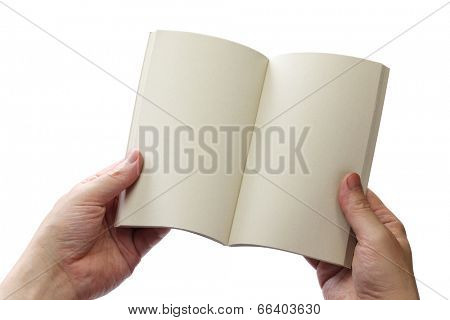 reading paperback, blank pages opens,white background