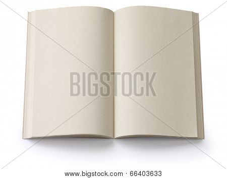 opened blank paperback isolated on white background