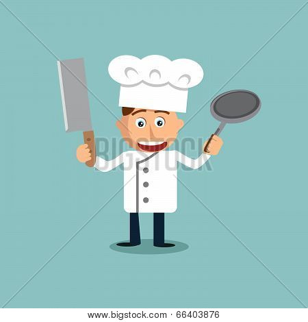 Young Chef With Knife And Pan In His Hands.