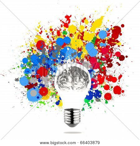Creativity 3D Metal Human Brain In Visible Light Bulb With Splash Colors Background As Concept