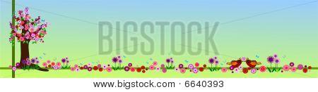 Floral spring banner