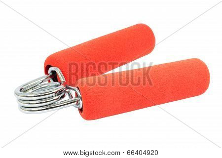 Red Hand Gripper On White Background