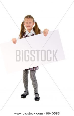 Little Girl With Message Board. Studio Shoot Over  White Background.