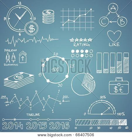 Business and finanse hand draw doodle elements graph chart timeline on blue background
