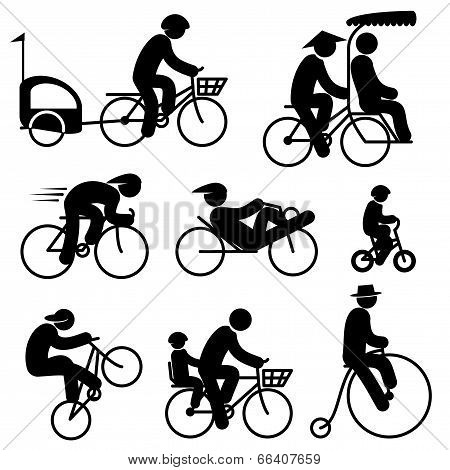 people cyclist icons