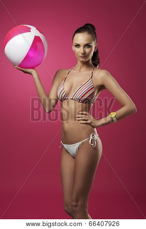 Summer Girl With Beach Ball