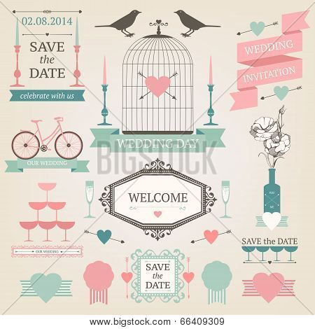 Vector wedding design elements.