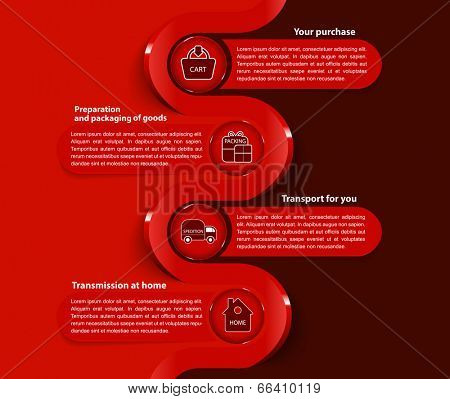 Red vector background with scheme for purchase in the eshop with symbols and place for text content