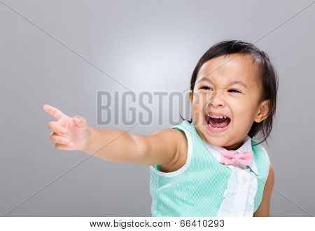 Multiracial baby girl hand up