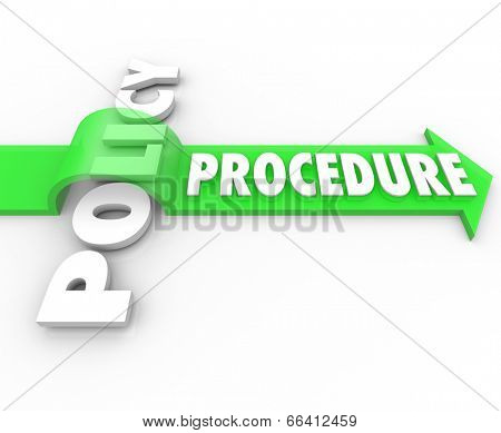 Procedure word on an arrow jumping over Policy to illustrate a business process