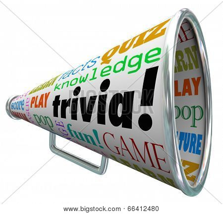 Trivia words on a bullhorn or megaphone to quiz or test your knowledge on pop culture
