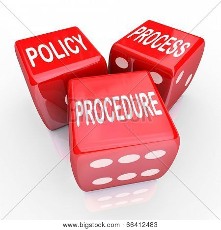 Policy, Process Procedure words three red dice organization's practices, rules regulations