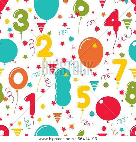 Seamless pattern of birthday party balloons
