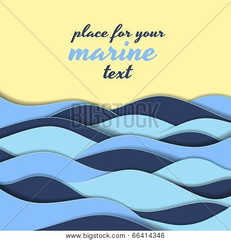 Marine themed background of blue waves