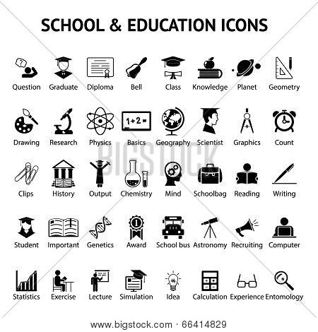 Large set of 40 school and education icons