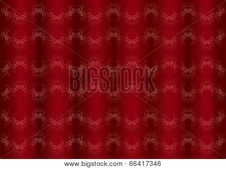 Gentle pink iridescent pattern on the wavy red burgundy background