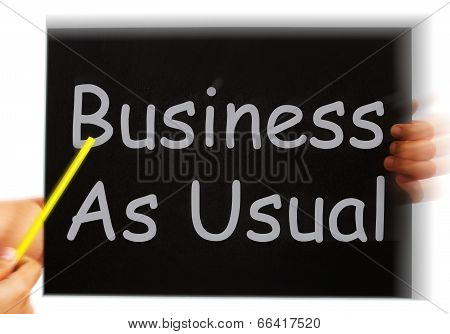 Business As Usual Message Means Routine And Normality