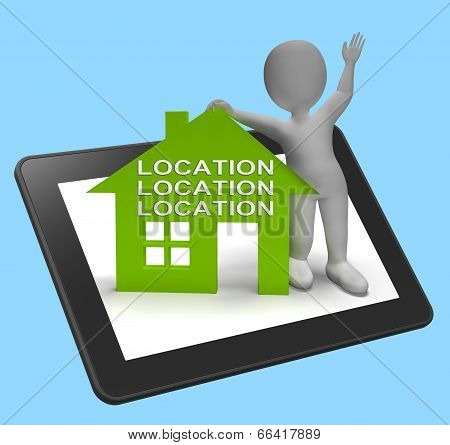 Location Location Location House Tablet Shows Perfect Property A