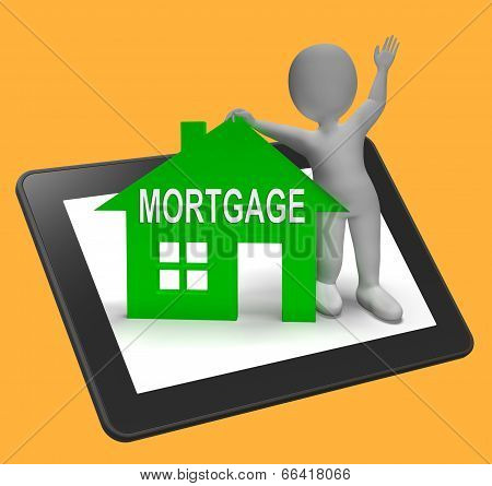Mortgage House Tablet Shows Paying Off Property Debt