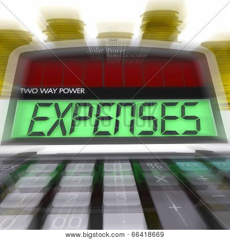 Expenses Calculated Shows Business Expenditure And Bookkeeping