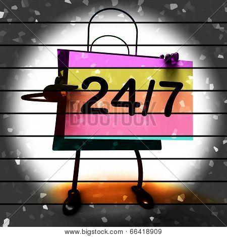 Twenty Four Seven Shopping Bag Shows Hours Open