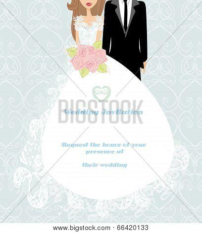 Stylish Wedding Invitation Card With Vintage Ornament Background.