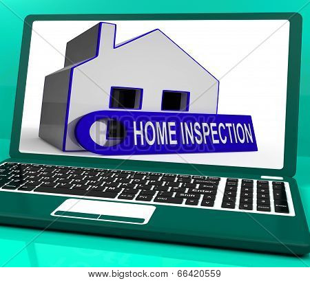 Home Inspection House Laptop Means Inspect Property Thoroughly