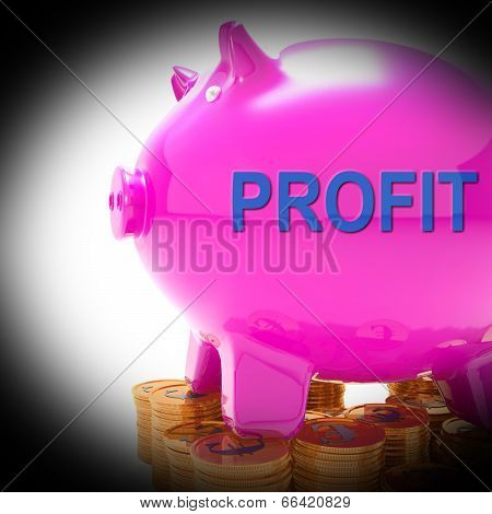 Profit Piggy Bank Coins Means Revenue Return And Surplus