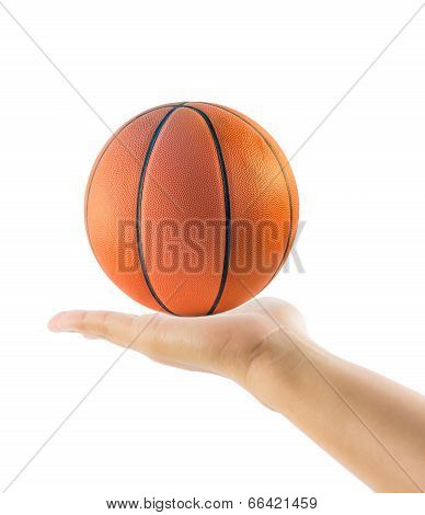 Hand Holding Basketball Or Basket Ball Isolated