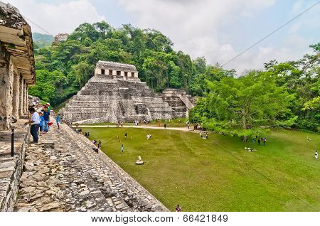 tourists visit Palenque ruins in Chiapas, Mexico