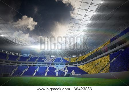 Digitally generated bosnian flag against football stadium with fans in white