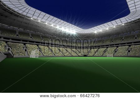 Digitally generated large football stadium with lights