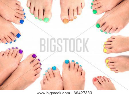 Womens Legs And Nails Isolated On The White Background