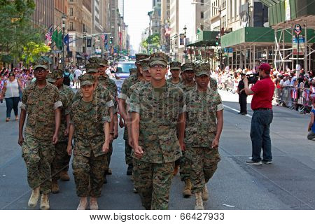 Cadets in formation on Fifth Avenue