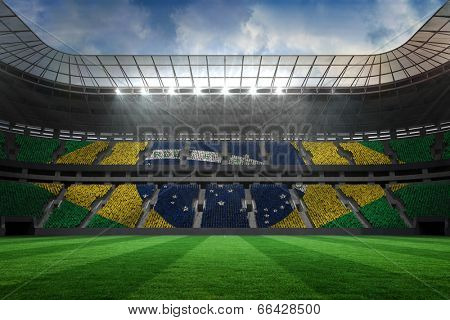 Digitally generated large football stadium with brasilian fans
