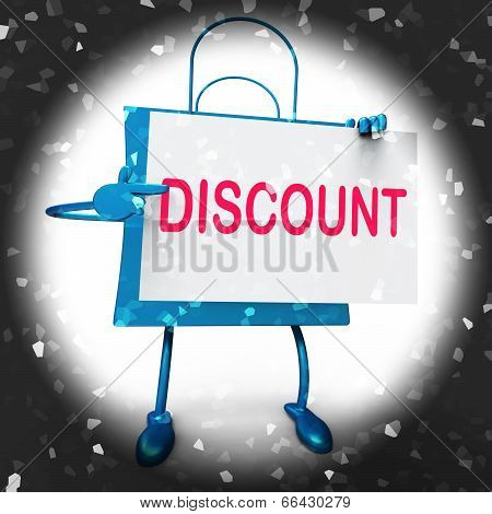 Discount Shopping Bag Shows Markdown Products And Bargains