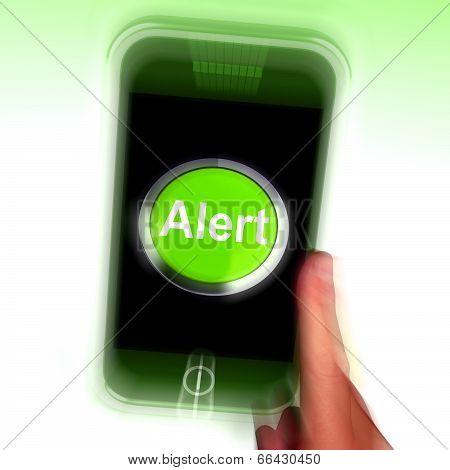 Alert Mobile Shows Alerting Notification Or Reminder