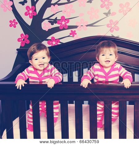 Twins in crib, twin baby girls - together