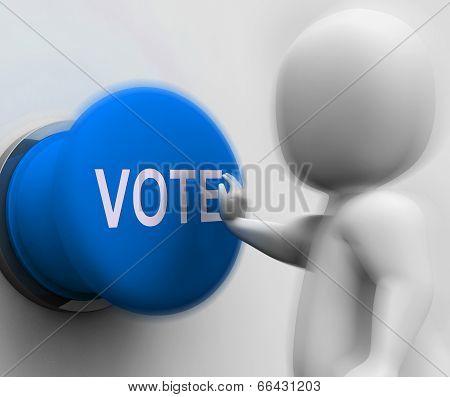 Vote Pressed Means Choosing Electing Or Poll