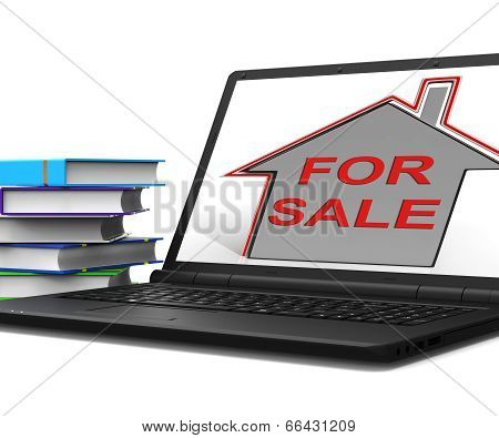 For Sale House Laptop Means Selling Real Estate