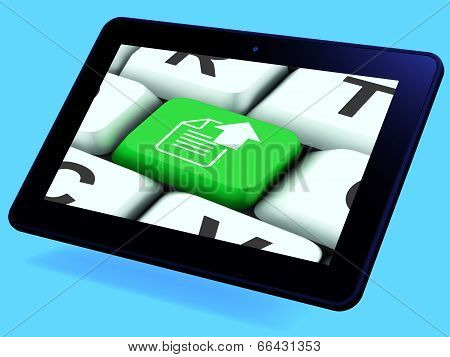 Upload Arrow And File Key Tablet Shows Uploaded Software Or Data