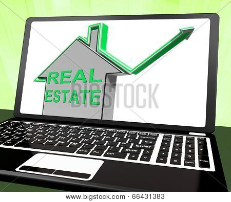 Real Estate House Laptop Means Selling Or Buying Land And Proper
