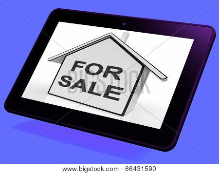 For Sale House Tablet Means Selling Or Auctioning Home