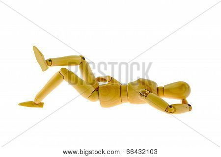 Wooden Figure Sleeping  Isolated On White Background