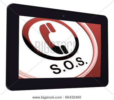 Sos Tablet Shows Call For Urgent Help