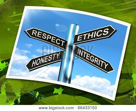 Respect Ethics Honest Integrity Sign Means Good Qualities
