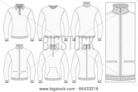 Men's long sleeve clothes templates (front view). Vector illustration. No mesh. Redact color very easy. Ribbed collar, cuffs and waistband.
